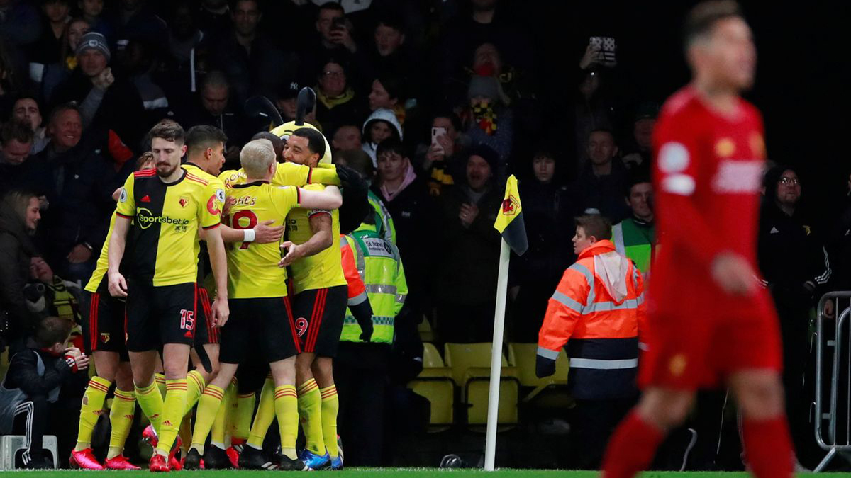 Liverpool's unbeaten Premier League run ends in a 3-0 defeat to Watford at Vicarage Road