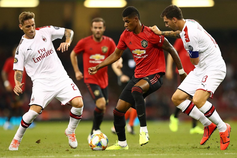 Marcus Rashford of Manchester United in previous Europa League action.