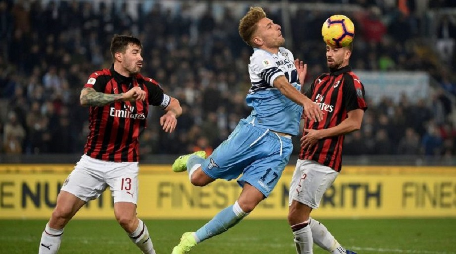 Lazio and AC Milan in previous action ahead of their Serie A clash on Monday evening.