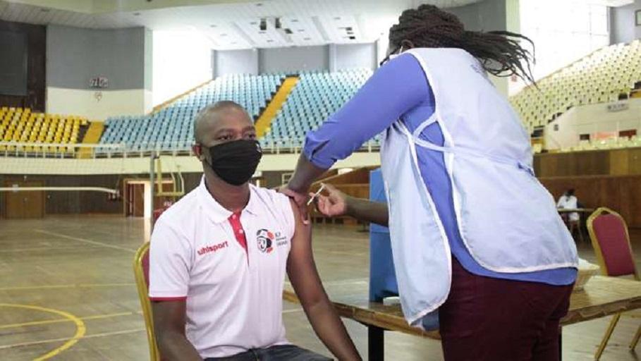 Football Kenya Federation President Nick Mwendwa gets his jab of the AstraZeneca COVID-19 vaccine at the Kasarani Stadium on Saturday, April 10, 2021.